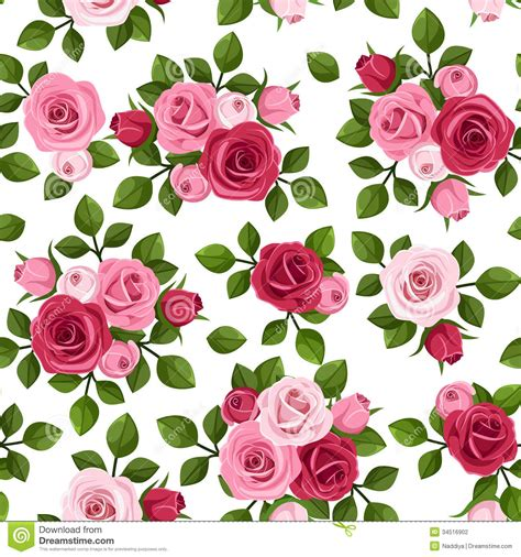 wallpaper pattern pink rose seamless pattern with red and pink roses on white stock