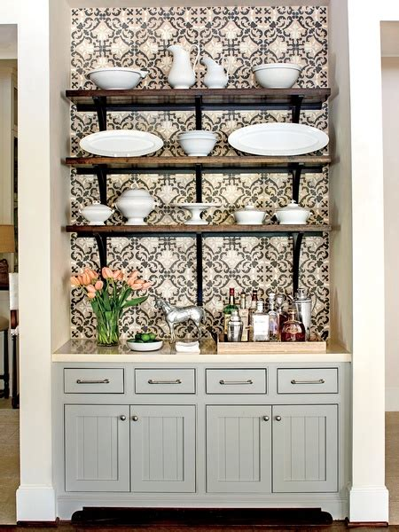 Grey Beadboard Kitchen Cabinets   Cottage   kitchen   Southern Living   Sherwin Williams Mindful