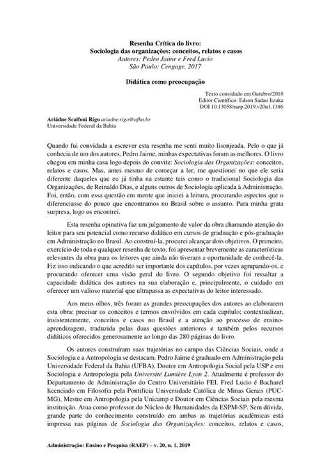 (PDF) Resenha Crítica do livro: Sociologia das