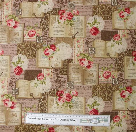 Patchwork Quilting Fabric - patchwork quilting fabric roses pink book chic linen