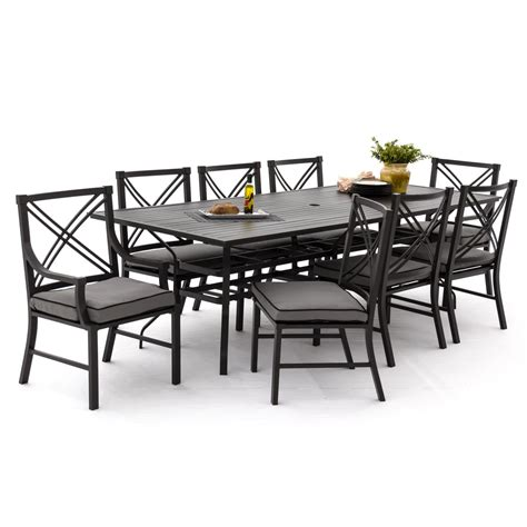 Audubon 9 Piece Aluminum Patio Dining Set With 6 Side 6 Chair Patio Dining Set
