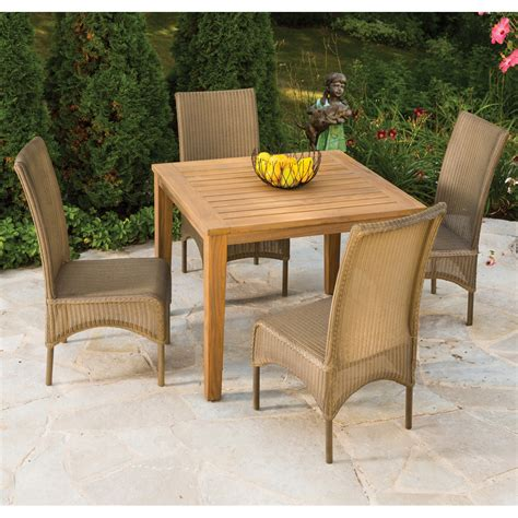 lloyd flanders patio furniture lloyd flanders 5 wicker and teak high back dining