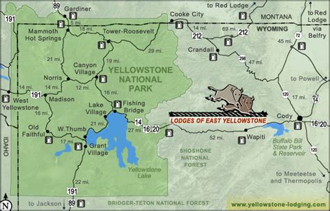 yellowstone lodging map scenic byways day trips east yellowstone lodges