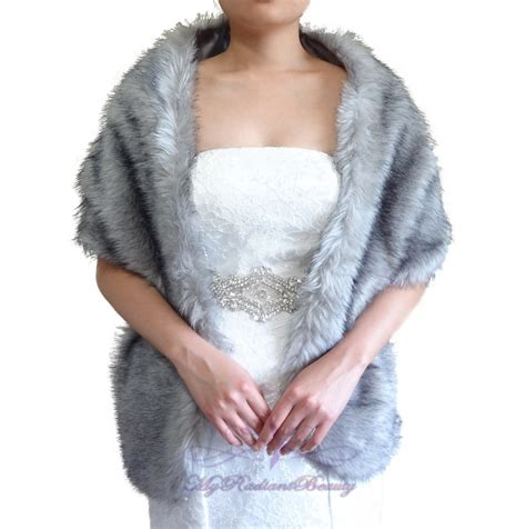 Complementary Color Of Blue by Faux Fur Wrap Bridal Grey Chinchilla Faux Fur Long Wrap