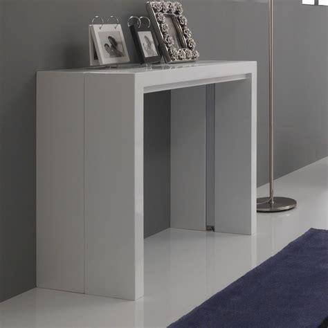 tavoli a consolle tavolo consolle vernon allungabile in legno mdf bianco lucido