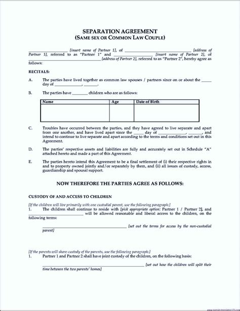 company employment separation agreement template sle