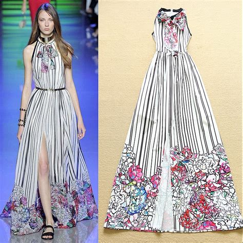 vertical design clothes high quality new fashion 2016 designer runway maxi dress