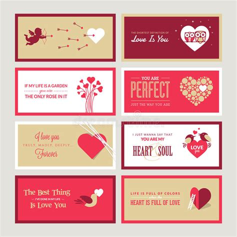 Valintines Card Landscape Templates Free by Set Of Valentines Day Greeting Card Templates Stock Vector