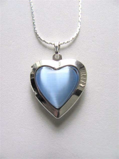 sky blue locket photo pendant necklace silver tone