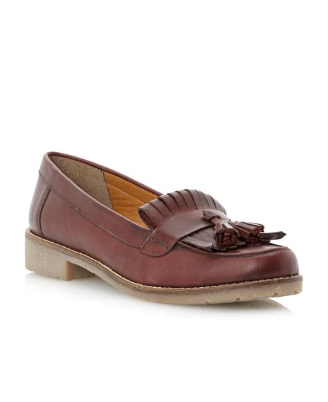 dune tassel loafers dune libertiecrepe sole tassel loafer shoes in brown lyst