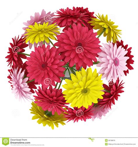 Flowery Top top view bouquet of yellow and pink flowers isolated