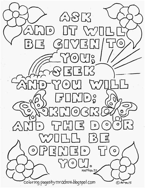 Matthew 7 Coloring Pages by Coloring Pages For By Mr Adron Ask And It Will Be