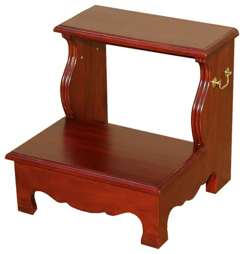 cherry 2 step bedside office library bed step stool