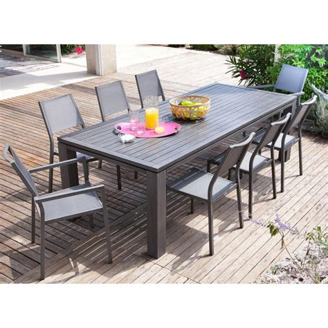 table jardin en table de jardin rectangulaire fiero en aluminium 240x103xh73cm proloisirs