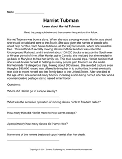 Harriet Tubman Biography And Questions | important women comprehension harriet tubman