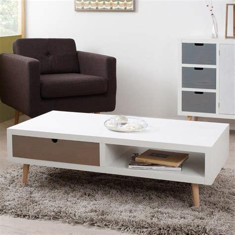 tiroir table table basse blanche et bois tiroir wraste