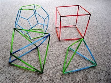 How To Make 3d Geometric Shapes Out Of Paper - 3d shapes with bendy straws geometry ideas