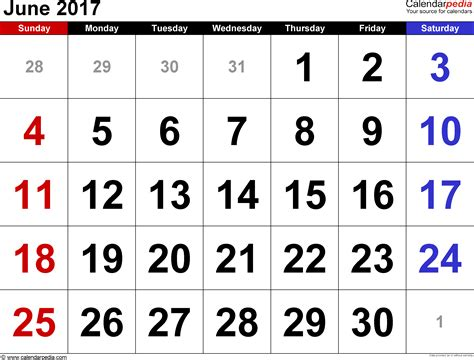 Calendar 2017 June Month June 2017 Calendars For Word Excel Pdf