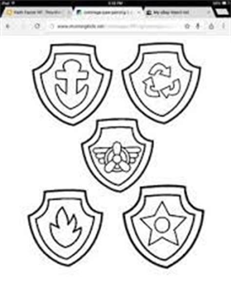 Paw Patrol Inspired Printable Black And White Line Art Party Masks Party Printables Ideas Paw Patrol Shield Template