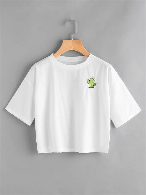 Slogan Tees Are Back by Cactus Embroidered Slogan Print Back Shein Sheinside
