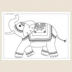 Christmas Craft Games - indian elephant colouring sheet cleverpatch