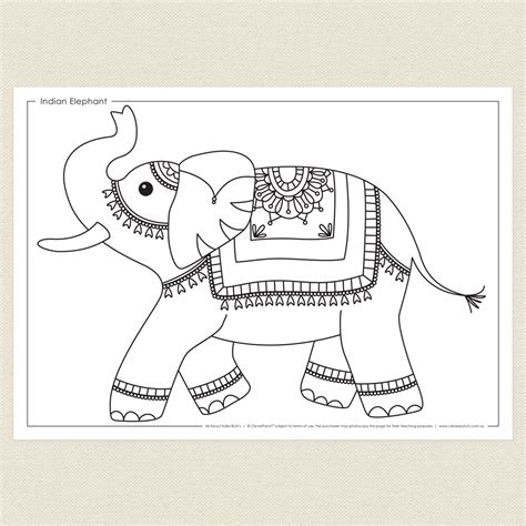 india elephant coloring page indian elephant colouring sheet cleverpatch