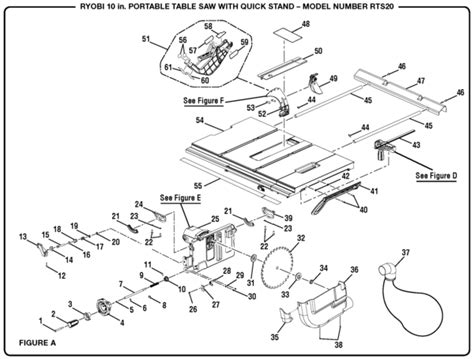 ryobi table saw parts ryobi rts20 10 quot portable table saw parts and accessories partswarehouse