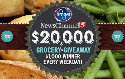 News Channel 5 Kroger Giveaway Entry - news channel 5 and kroger 20 000 grocery giveaway 2017 sweepstakesbible
