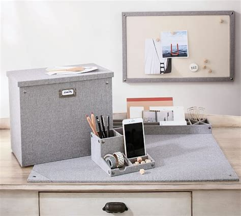 Pottery Barn Desk Organizer Gray Blythe Linen Desk Accessories Small Organizer Pottery Barn