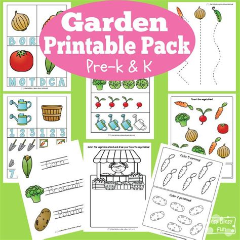 garden printable preschool  kindergarten pack gardens