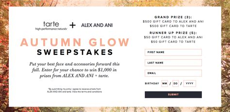 Tarte Gift Card - sweepstake up to 1000 tarte alex and ani gift card gift with purchase