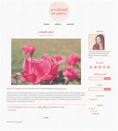 Pre Made Blogger Template Weekend In Paris Blog Design Cute Blogger Templates Pre Made Templates