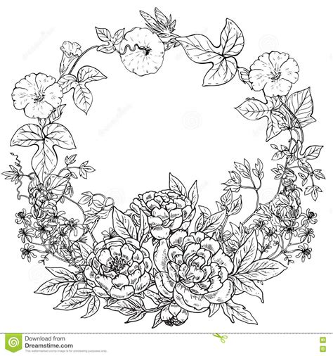 flower wreath coloring page vector frame with hand drawn wreath of peony flowers and