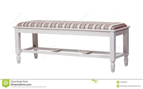 white wood bench upholstered wood bench isolated over white stock image