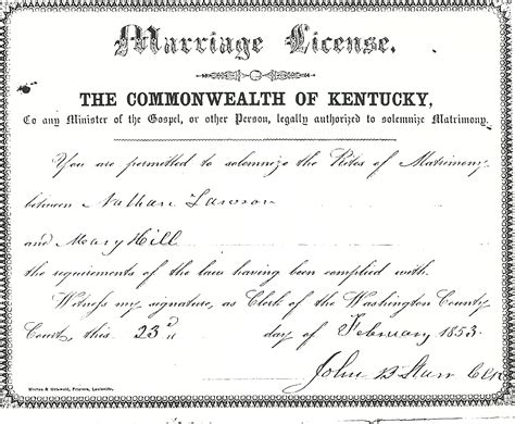 Marriage Records Ky Kentucky Marriage License