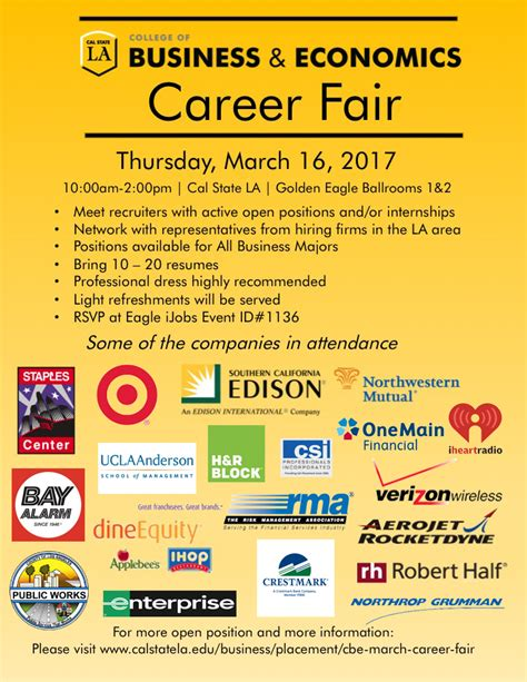 Csus Mba Regional Employers by Cbe Career Fair 2017 California State Los