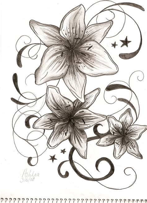 lily and stars tattoo designs imagn tribal