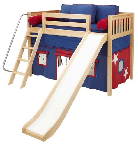 kids fort bed play fort mid loft bed w slide by maxtrix kids blue red on natural 420 1s