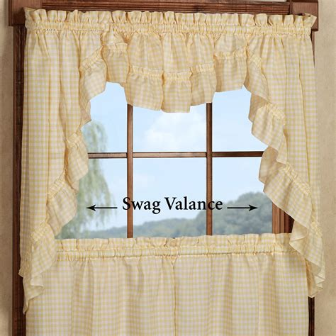 ruffled swag curtains mary gingham tier window treatments