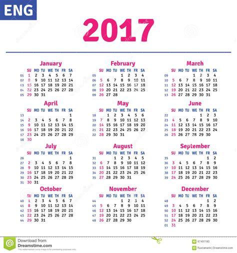 A Calendario In Inglese Calendario Inglese 2017 Illustrazione Vettoriale