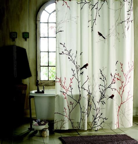 Curtains Birds Theme Statue Of Nature Shower Curtain Effort To Bring Nature Awe Bathroom Design Inspiration