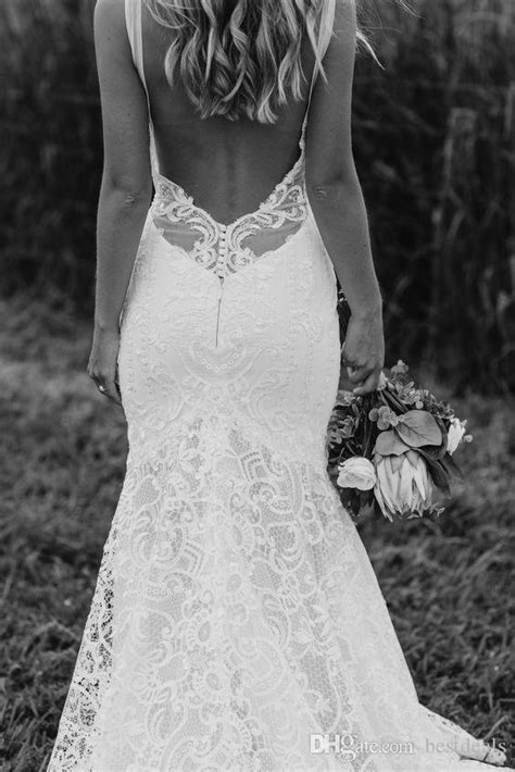 Discount Sexy Spaghetti Straps Bohemian Wedding Dresses With Low Back 2017 New Arrival Full Lace