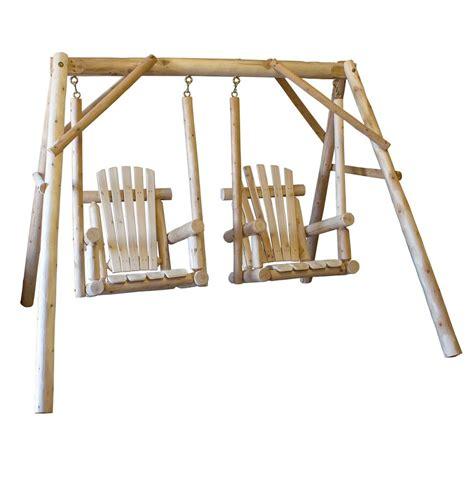 cedar log swing cedar log double chair swing lakeland mills