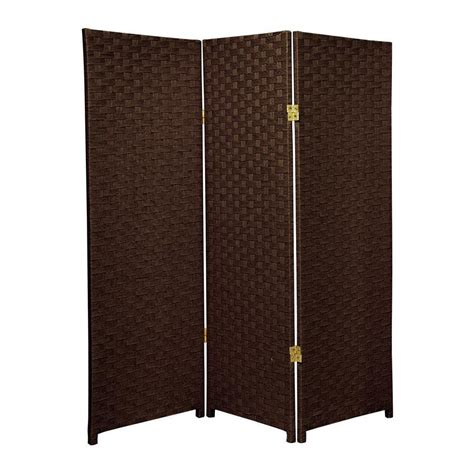 Room Dividers And Partitions - shop oriental furniture 3 panel dark mocha woven fiber folding indoor privacy screen at lowes com