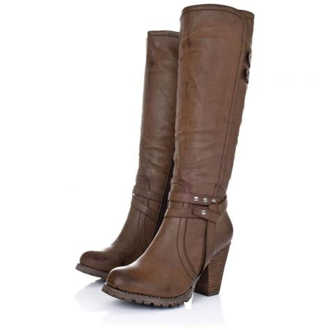 leather boots high heels buy august block heel knee high biker boots brown leather