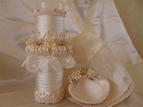 Fina Set bautizo set vela concha y fina mantilla en seda y