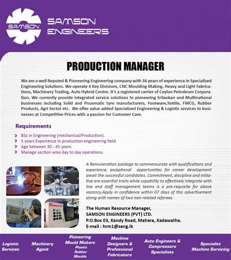 Print Production Manager by Production Manager Vacancy In Sri Lanka