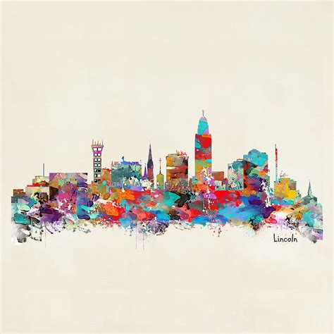 lincoln nebraska skyline painting by bleu bri