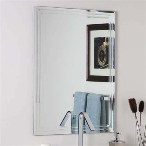 Bathroom Mirror Shop Decor 23 6 In W X 31 5 In H Rectangular Frameless Bathroom Mirror With Hardware