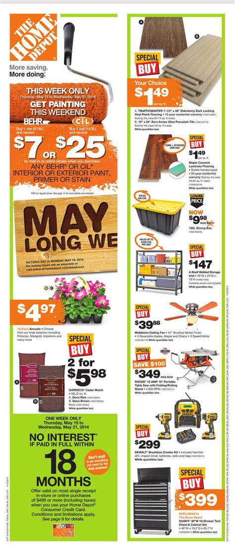 home depot canada weekly flyer may 15 to 21 canada